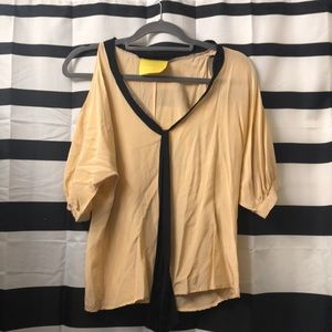 Aaron Ashe cold shoulder nude and black blouse S